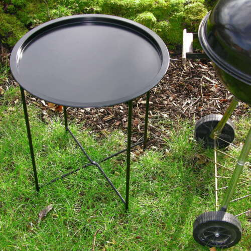 Grill Beistelltisch rund schwarz Metall KLAPPBAR Garten Tisch Klapptisch Tablett