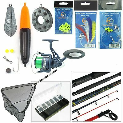 SEA FISHING KIT. EVERYTHING YOU NEED. SEA FISHING ROD & REEL WITH TACKLE NET ETC