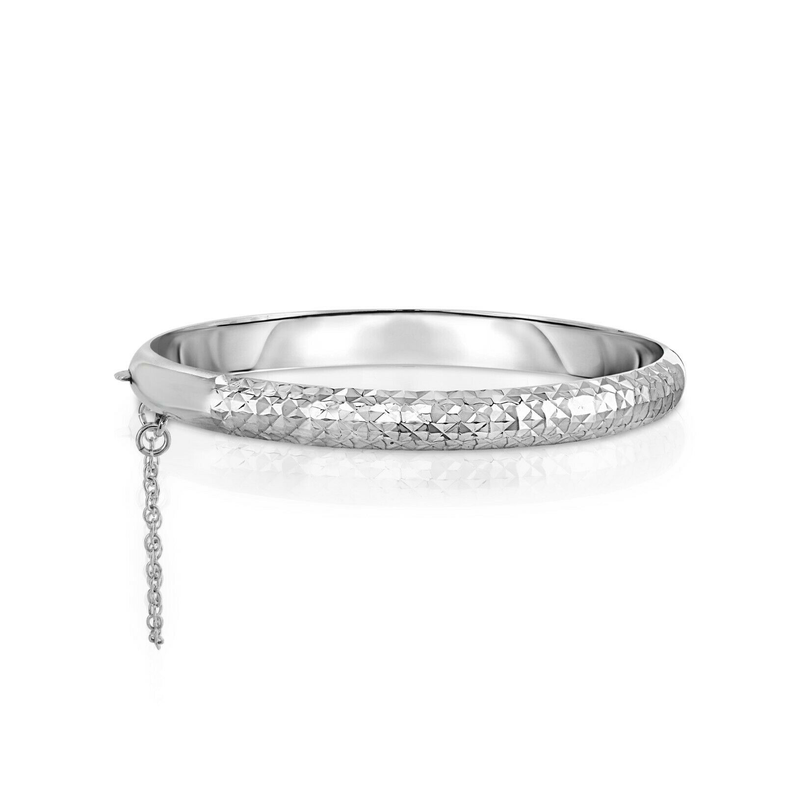 "Sterling Silver 925 7MM Diamond- Cut Bangle Bracelet For Women-7"" Inch- 3 Colors"