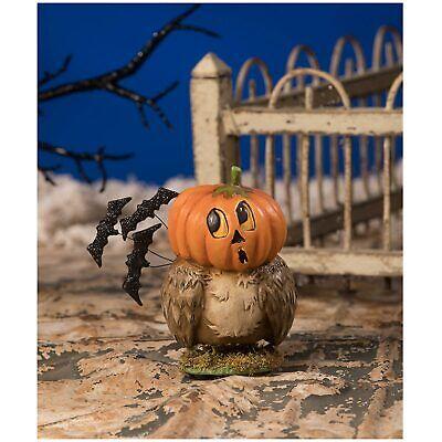 "4"" Bethany Lowe Owlkin Owl JOL Pumpkin Retro Vtng Style Halloween Figurine Decor"
