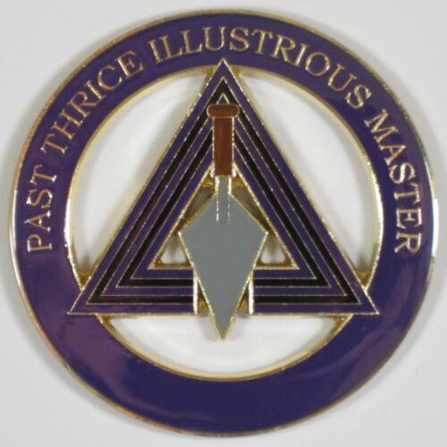 Auto Emblem Past Thrice Illustrious Master Metal Enamel Freemason Mason