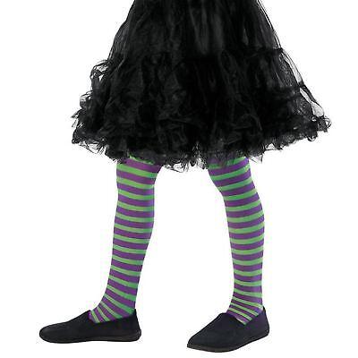 Mädchen Böse Hexe Lila Grüne Streifen Strumpfhose Kostüm Büchertag Halloween (Böse Mädchen Hexe Kostüm)