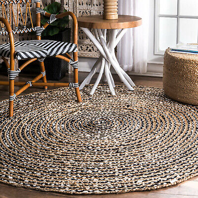 Indoor Outdoor Rug Braided Rugs Jute and Cotton Small Extra Large Rounds Mats  ()