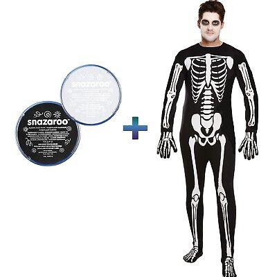 Adulto Hombre Esqueleto Mono Disfraz de Halloween Blanco y Negro Pintura Facial - De Halloween Esqueletos