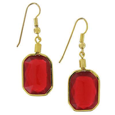 (Red Faux Jewel Octagon Dangle Drop Pierced Earrings 1 3/8