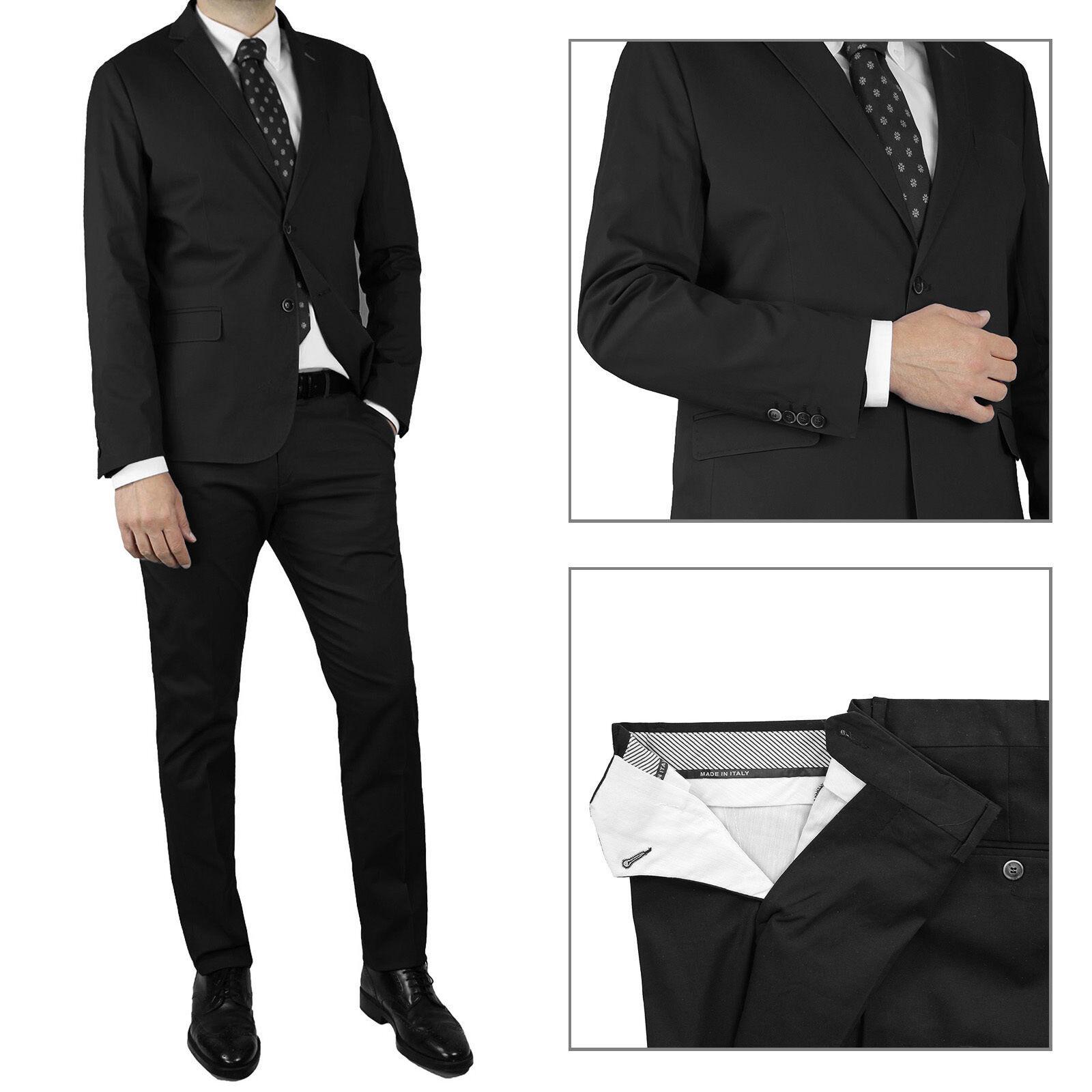 Vestito Uomo Nero Completo Sartoriale Abito Estivo Casual Slim ... ab02aa10607