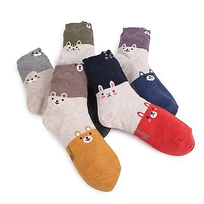 (5 Pairs) Animal Happy Socks Women Kids Cute Cat Puppy Bear Rabbit Casual EP