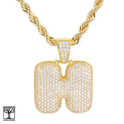 H Initial Custom Bubble Letter Gold Plated Iced CZ Pendant 24