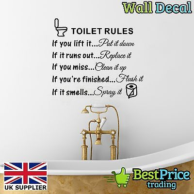 rules vinyl wall decal sticker home decor bathroom loo restroom