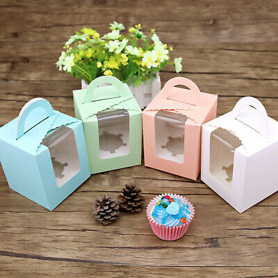 Mixed Colored Clear Window Cupcake Box Gift Party Cake Pudding Hoder Boxes