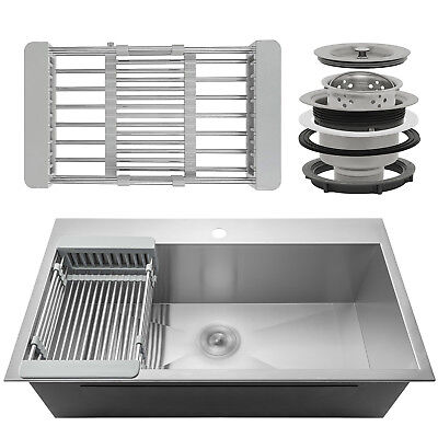 """33"""" x 22"""" x 9"""" Stainless Dirk Top Mount Kitchen Penetrate Fasten on Basin w/ Tray Kit"""
