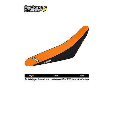 1998-2000 KTM EXC 200/250/380 FULL GRIPPER SEAT COVER Black/Orange by Enjoy MFG