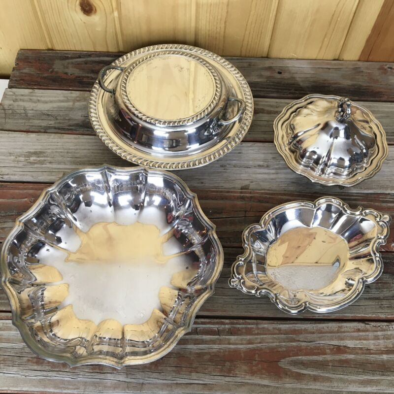 Silver Plate Mixed Serving Lot 7 Pieces (Including Inserts) L22
