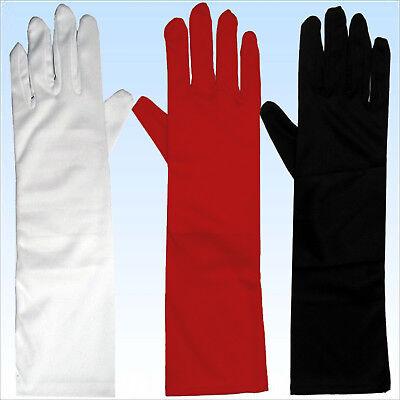 Lange Handschuhe für elegante Abendgarderobe Rot Weiß Schwarz