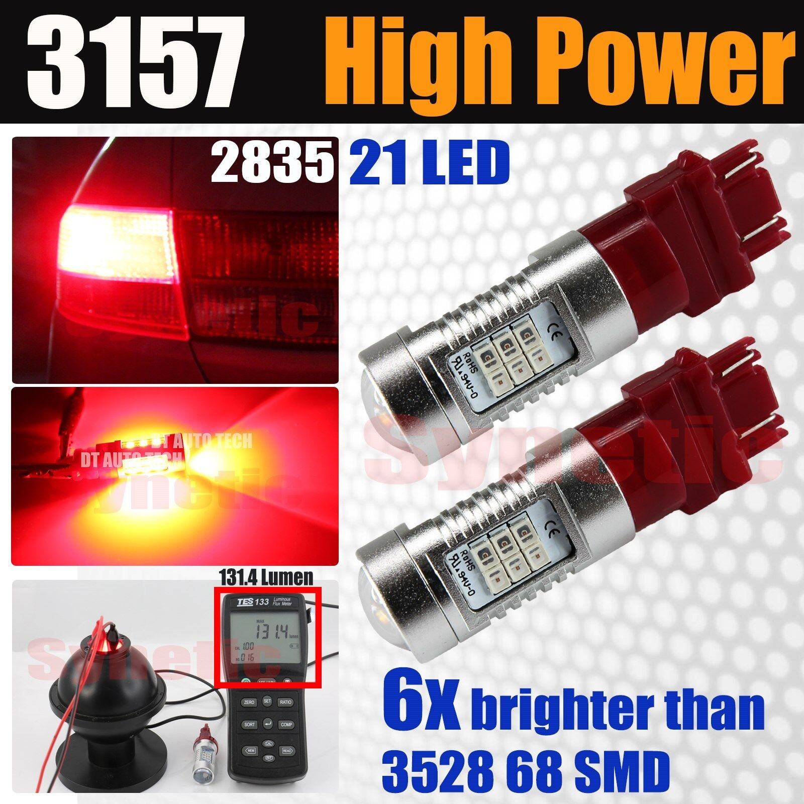 2x 7443 7440AL High Power 15-SMD Bright Red Brake Tail Stop LED Lamp Light Bulbs