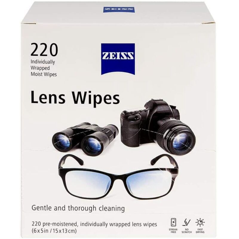 Zeiss Lens Wipes 220 ct Individually Wrapped Gentle Cleaning Wipes