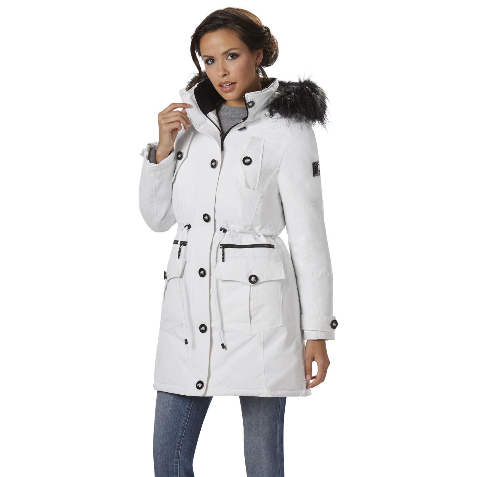 Rocawear Women s Rocawear Plus Hooded 3 4-Length Parka White L  NJHSM- bb485fcef