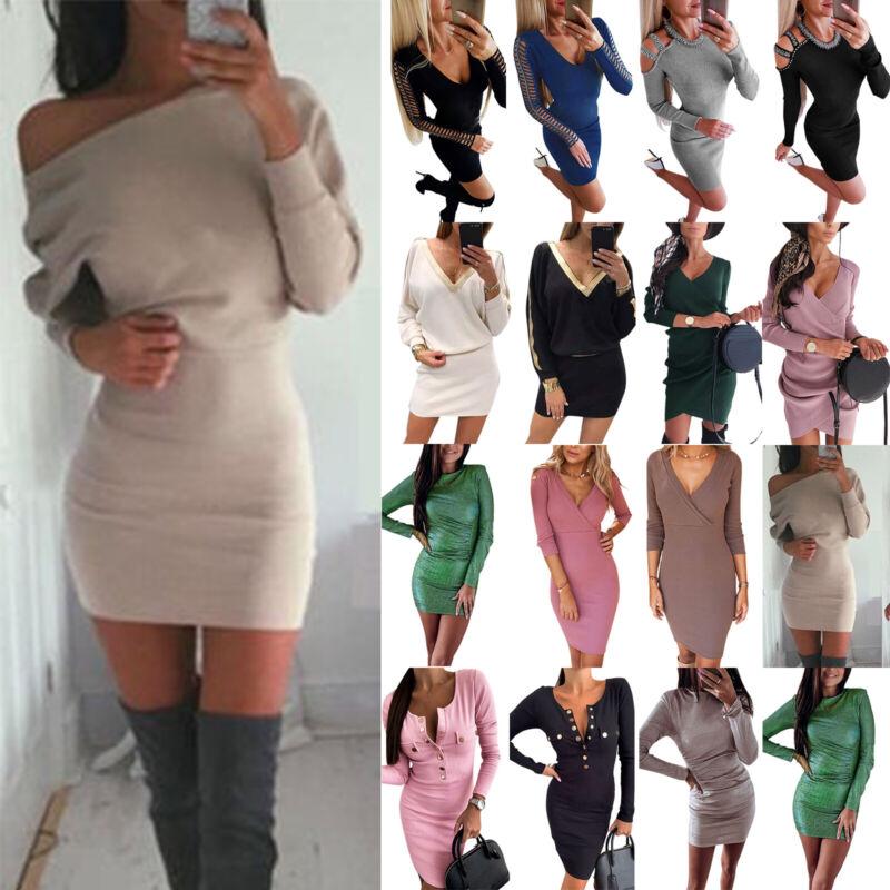 Damen Strickkleid Pulliverkleid Pullikleid Bodycon Minikleid Winter Partykleider