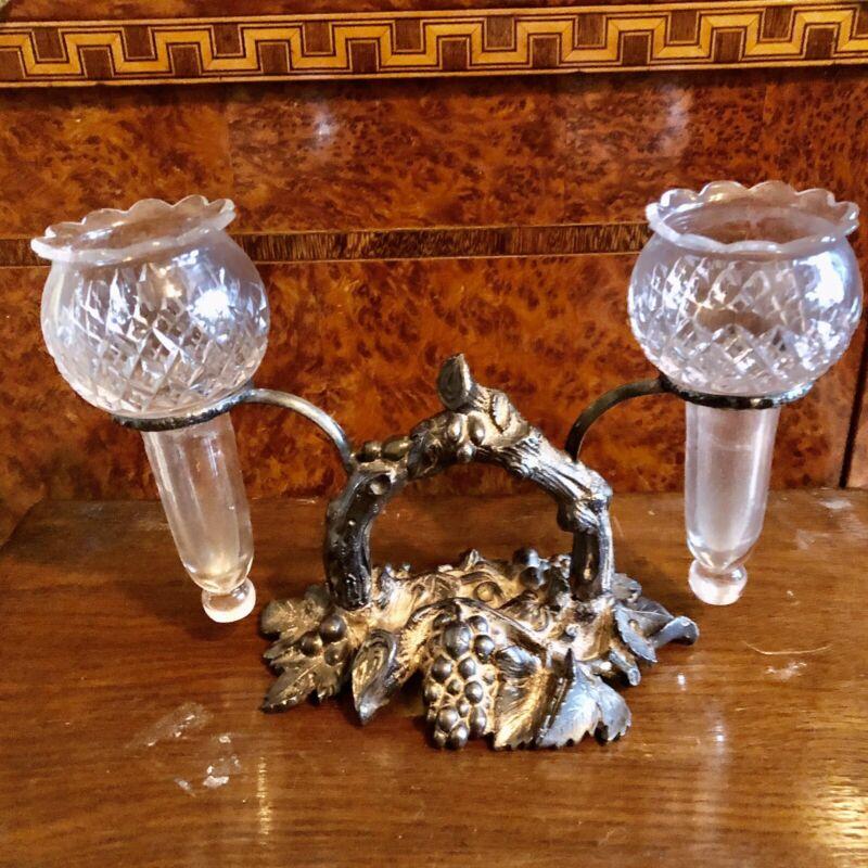Vintage Silverplate Trumpet Grape Pattern Epergne 2 Cut Crystal Vases
