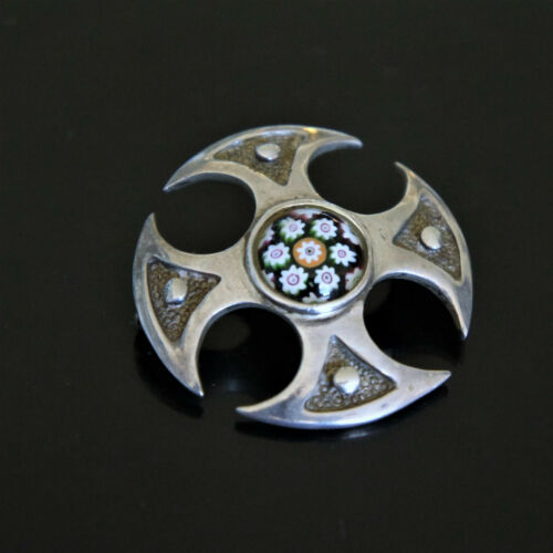 British Scottish Celtic Caithness Art Glass Millifiori Cabochon Sterling Brooch