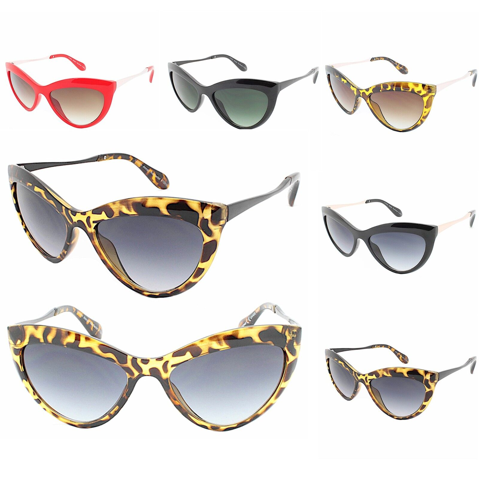 813d11eb6fdd Details about Womens Oversized Cat Eye Sunglasses Vintage Retro Rockabilly  50 s Pinup