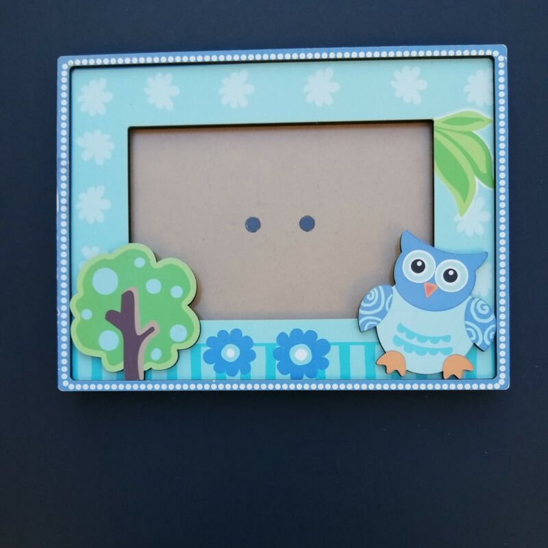 """GANZ Owl Picture Frame Blue -- Opening 3.5"""" X 5.5""""  Frame 6"""" x 8"""""""
