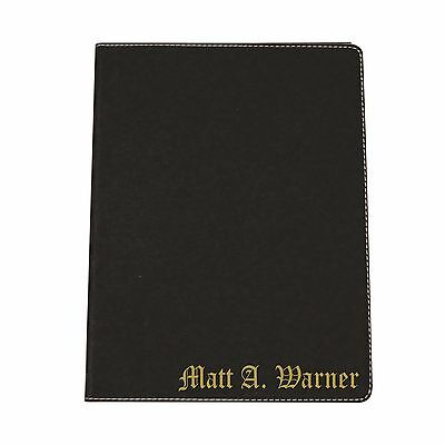 Engraved Leather Business Portfolio With Black Personalized Journal Padfolio