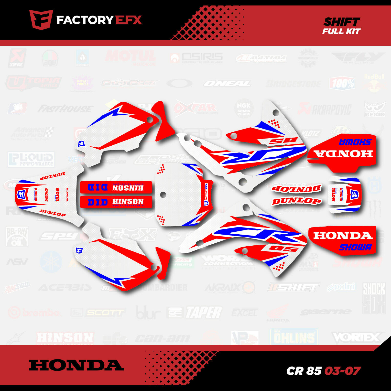 Cr85 Red White Amp Blue Shift Racing Graphics Kit Fit 2003