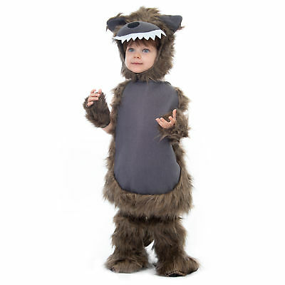 Furry Wolf Costume | Child's Halloween Werewolf Monster Dress Up, Role Play - Children's Wolf Halloween Costume