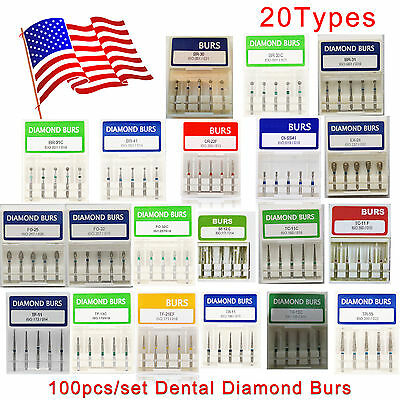 100pcs Dental Diamond Burs Fresas For High Speed Handpiece Medium Fg 1.6mm