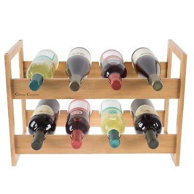 Bamboo Wine Rack Countertop Bottle Holder 18 x 12 Table Top Wooden Storage 12 Bottle Countertop Wine