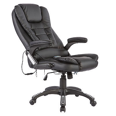 Ergonomic Executive 6 Point Massage Heated Recliner Computer Office Chair Black
