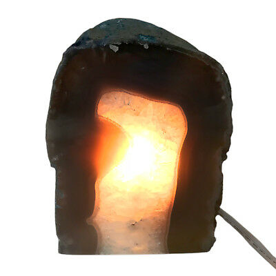 Rock Lamp Agate Geode Lamp Blue Dyed Display Specimen Free USA Shipping AL21