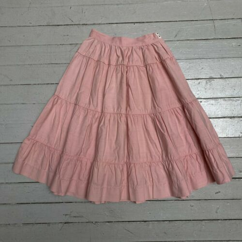 VTG 1950s Baby Pink Tiered Cotton Full Skirt XS