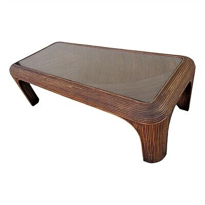 Vintage Pencil Reed Rattan Bamboo Coffee Table Crespi Style Palm Beach Coastal Bamboo Style Furniture