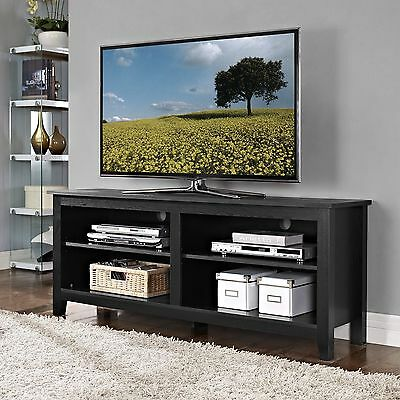 مكتبة تلفزيون جديد Walker Edison 58-inch Wood TV Stand with Storage space in Black Finish, W58CSPBL