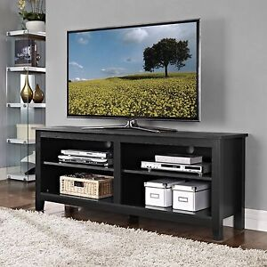 Walker Edison 58 Inch Wood TV Stand With Storage Space In Black Finish,  W58CSPBL