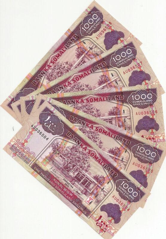 Somaliland 5 Notes1000 Shillings 2011  Uncirculated Notes