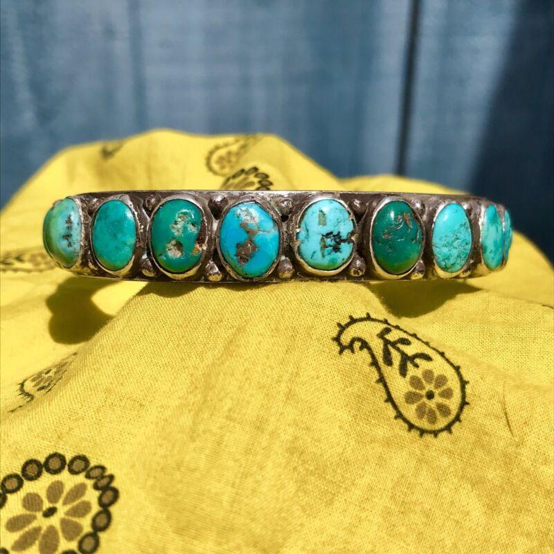 1920s Pueblo Native American Green Blue Turquoise Silver Ingot Row Cuff Bracelet