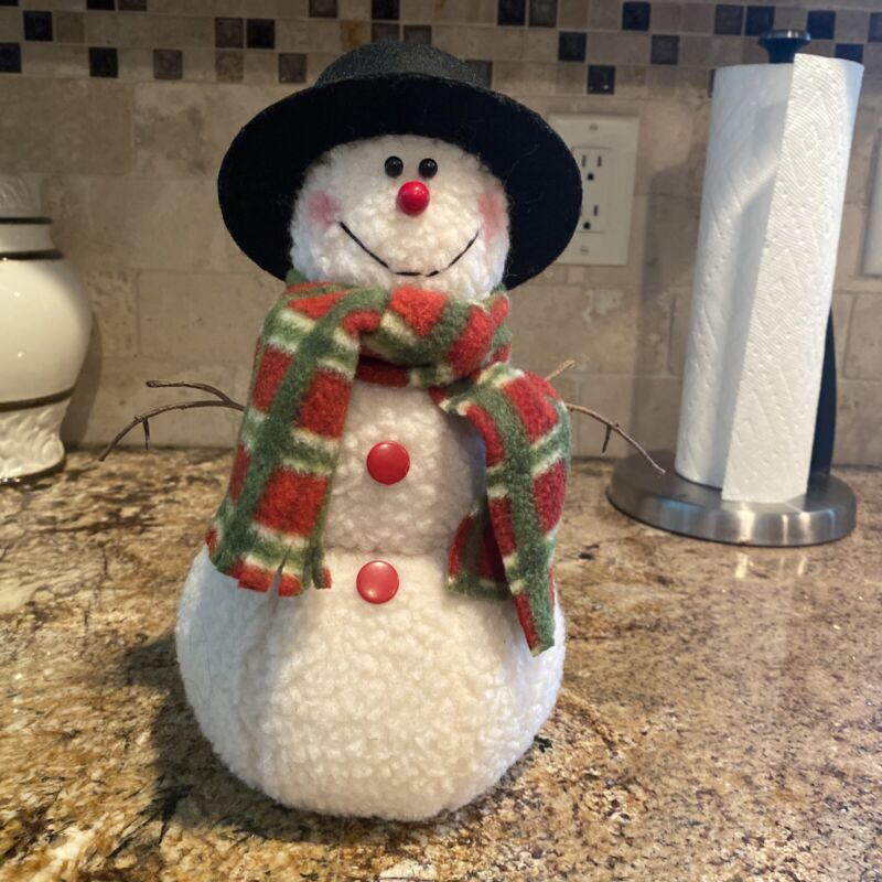 Custom Made Craft Holiday Snowman 10 Inch Tall NEW - Fabric Made - Christmas