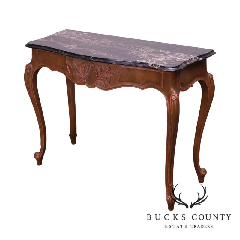 French Louis XV Style Vintage Marble Top Console Table