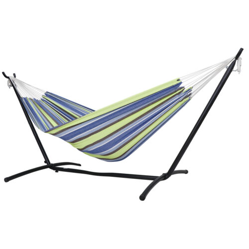Hammock with Steel Stand Portable Double Swing Bed with Carry Case for Outdoor Hammocks