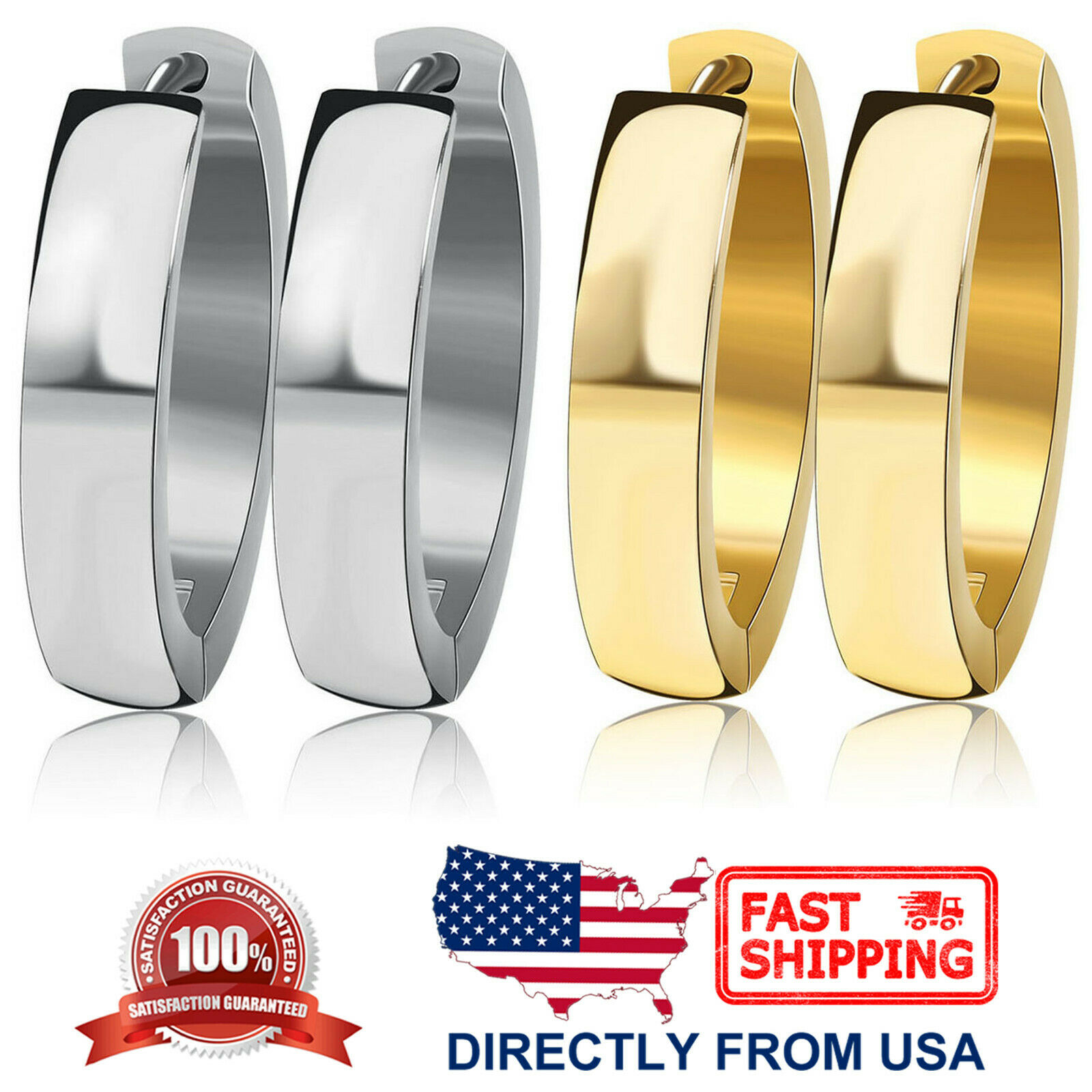 Women's Stainless Steel Oval Polished 4mm Hoop Huggie Earrings (Gold or Silver) Earrings