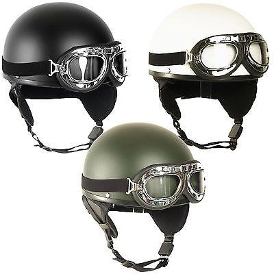 retro helm halbschale mit brille gr s l oldtimer helm. Black Bedroom Furniture Sets. Home Design Ideas