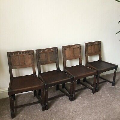 Four Solid Oak Dining Chairs; Arts and Crafts; For Refurb/Project: Swansea