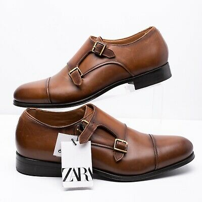Zara Mens Double Monk Strap Leather Dress Shoes Sz 9 Eu 42 Brown 5411/302 NWT