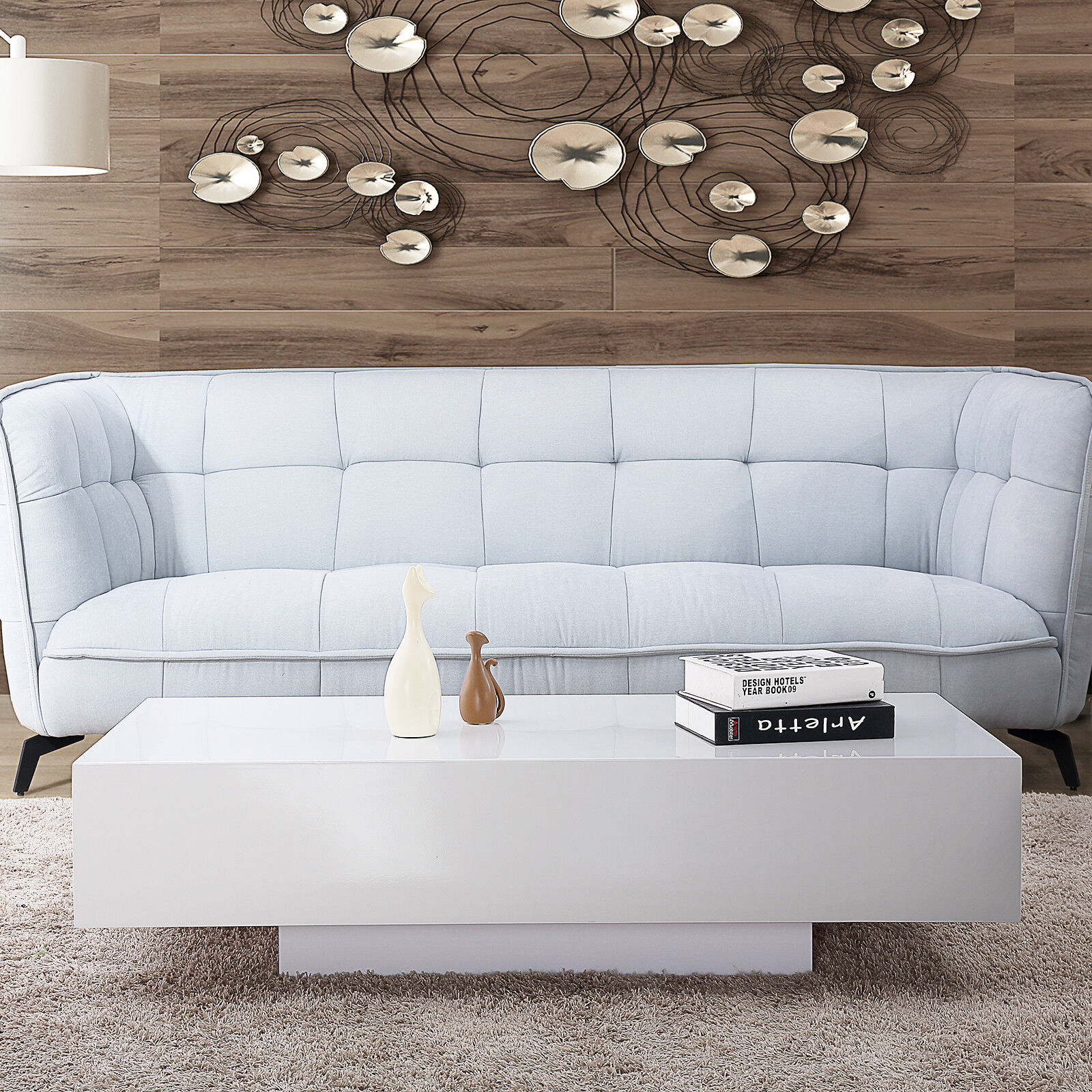 Modern High Gloss White Coffee Table Living Room Furniture ...