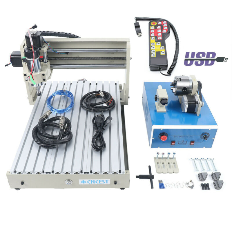 USB 4Axis CNC 3040 Router Engraver 3D Cut PCB Engraving Drilling Machine 400W+RC