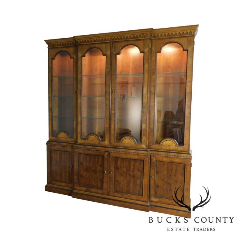 Henredon Large Inlaid Yew Wood Breakfront China Cabinet Bookcase