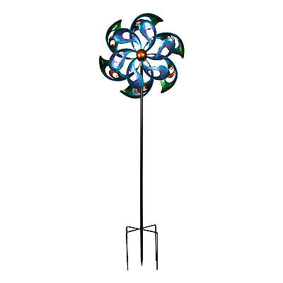 Large Kenetic Metal Garden Spinner Windmill Rainbow Flower Garden Ornament